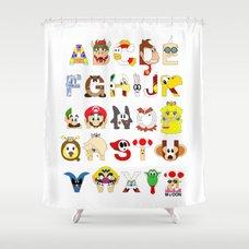 Captivating ... Super Mario Alphabet Shower Curtain ...