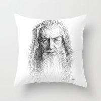 gandalf Throw Pillows featuring Gandalf by Creadoorm
