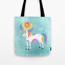 Rainbow Petal Unicorn Tote Bag