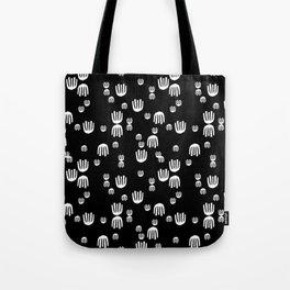 Linocut black and white minimal hand pattern minimalist decor scandinavian design Tote Bag