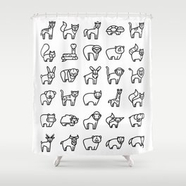 CUTE ANIMALS PATTERN (WILD ZOO ANIMAL CHARACTERS) Shower Curtain