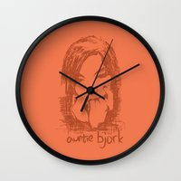 bjork Wall Clocks featuring Auntie Bjork by The Babybirds