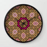grim fandango Wall Clocks featuring Gold Cameo (violet-fandango) by NatalieCatLee