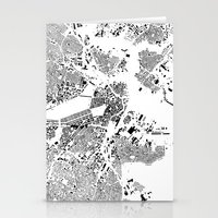 boston map Stationery Cards featuring Boston Map Schwarzplan Only Buildings by City Art Posters