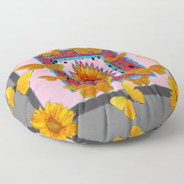 SOUTHWEST ART BUTTERFLIES SUNFLOWERS Floor Pillow