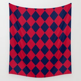 Red blue geometric pattern Wall Tapestry