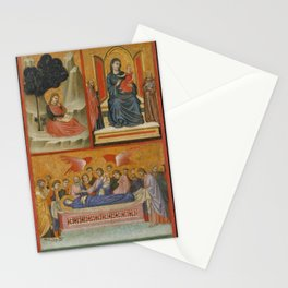Pacino di Buonaguida - Saint John on Patmos, Madonna and Child Enthroned, and Death of the Virgin Stationery Cards