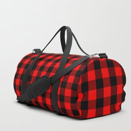 Classic Red and Black Buffalo Check Plaid Tartan Duffle Bag
