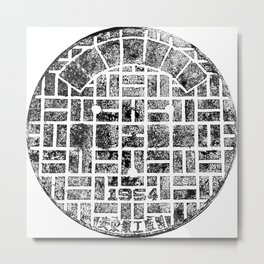 1954 Manhole Cover Ink Print From Beijing Metal Print