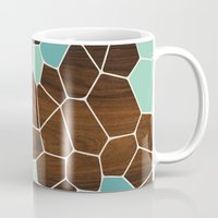 geode Mugs featuring Geode in Blue by jefdesigns