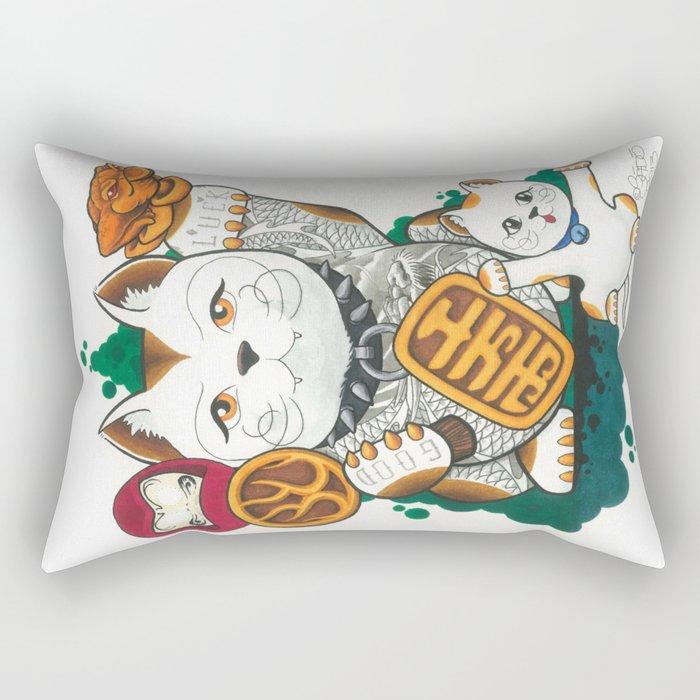 Tattooed Lucky Cat Rectangular Pillow