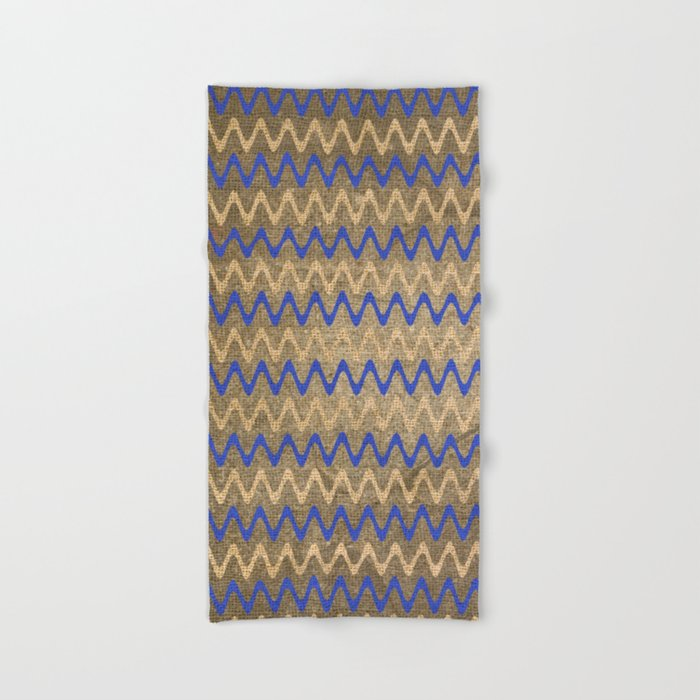 Blue and Tan Zigzag Stripes on Grungy Brown Burlap Graphic Design Hand & Bath Towel