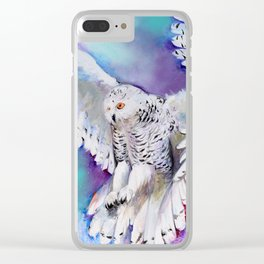 Flying White Owl Modern Watercolor Clear iPhone Case