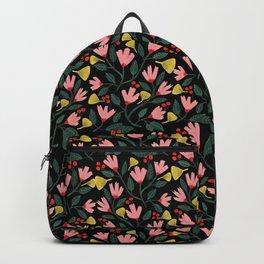 Pink Floral Pattern on Black Backpack