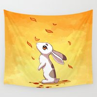 hare Wall Tapestries featuring Autumn Hare by Freeminds