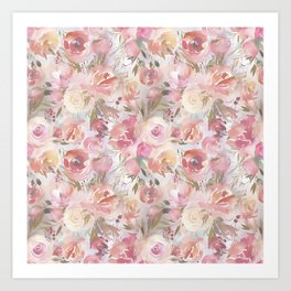 Bouquets of Flowers in Soft Hues of Pastel Pink and Cream Art Print