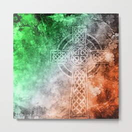 Irish Celtic Cross Metal Print