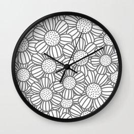 Field of daisies - gray Wall Clock