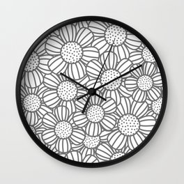 Field of daisies - gray Wall Clock