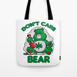 DO NOT CARE BEAR SMOKING WEED Bong Hemp Leaf 420 Tote Bag