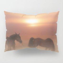 Horses in a misty dawn Pillow Sham
