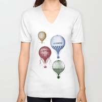 hot air balloons V-neck T-shirts featuring Colorful Hot Air Balloons by Zen and Chic