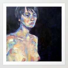Female Nude Against Dark Background Art Print