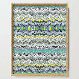 Teal Yellow White Midnight Aztec Serving Tray