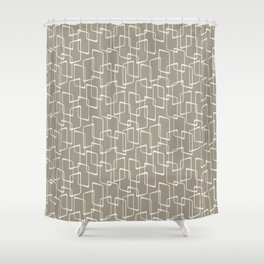 Retro Rounded Rectangles in Medium Warm Gray Shower Curtain