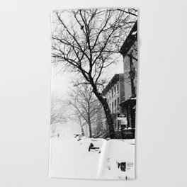 New York City At Snow Time Black and White Beach Towel