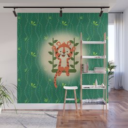 BABY TIGER SWING Wall Mural