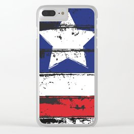 Wood Grain American Flag 4th of July with Fade Print Clear iPhone Case