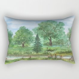 Creek in woodlands Rectangular Pillow