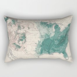 1883 USA Map of Density of Forests Rectangular Pillow
