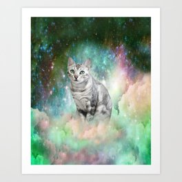 Purrsia Kitty Cat in the Emerald Nebula of Innocence Art Print