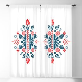 Scandinavian Folk Patterns Blackout Curtain