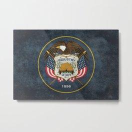 Utah State Flag, grungy style Metal Print