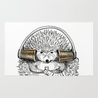 hedgehog Area & Throw Rugs featuring Hedgehog by Emily Dere