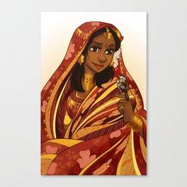 Kavitha and Sparrow Canvas Print