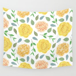 Hand painted yellow coral watercolor modern floral Wall Tapestry