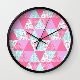 Bright quilt triangle cheater quilt pattern florals modern color palette gifts for nursery Wall Clock
