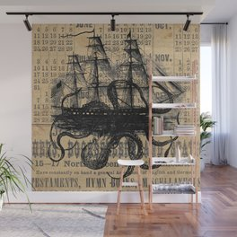 Octopus Kraken attacking Ship Antique Almanac Paper Wall Mural