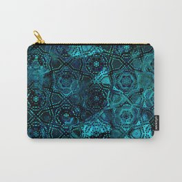 Starry Deep Blue Night Sky , Abstract Geometric Pattern with Moon Lit Domino Stars Carry-All Pouch