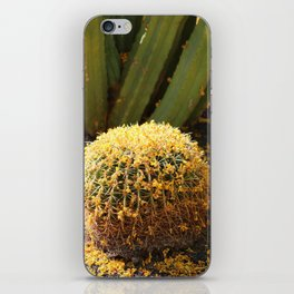 Barrel Cactus Covered In Butter Yellow Palo Brea Blossoms in Portrait iPhone Skin