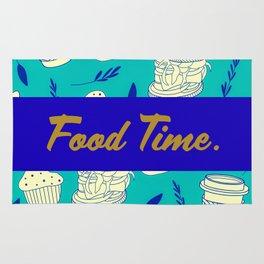 Blue Food Time Pattern Rug
