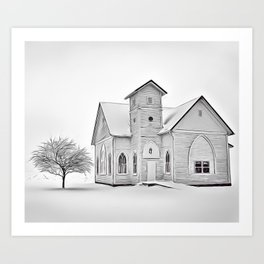 Lonely Church Airbrush Artwork Art Print
