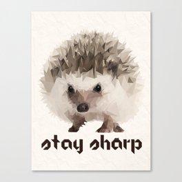 Stay Sharp Hedgehog Low Poly Canvas Print
