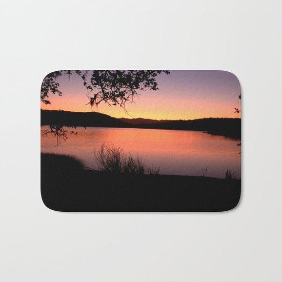 LAKE HENNESSEY - NAPA CALIFORNIA - SUNSET REFLECTION Bath Mat