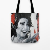 "amy poehler Tote Bags featuring ""Amy"" by Dmitry  Buldakov"