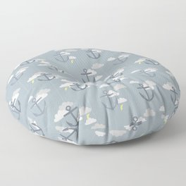 Stormy Nautical Pattern 2 Floor Pillow